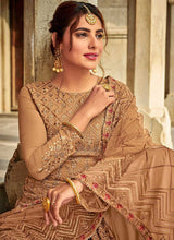 Load image into Gallery viewer, Beige Embroidered Palazzo Style Suit