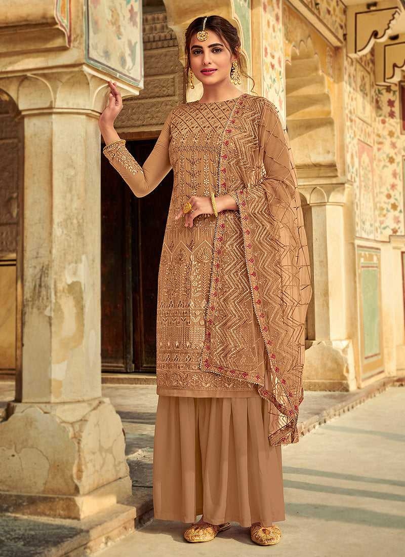 Beige Embroidered Palazzo Style Suit