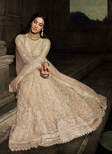 Load image into Gallery viewer, Beige Floral Embroidered Heavy Anarkali Suit