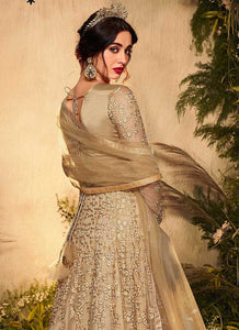Beige Gold Heavy Embroidered Gown Style Anarkali Suit