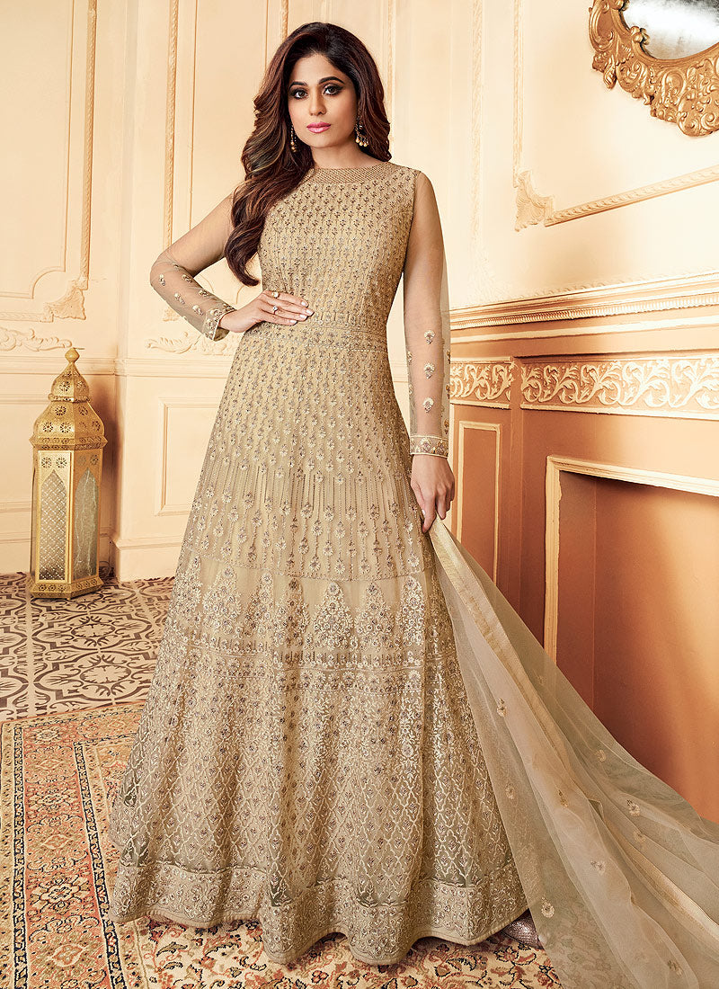 Beige Heavy Embroidered Gown Style Anarkali - Indian Dress