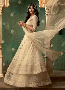 Beige and Gold Embroidered Lehenga