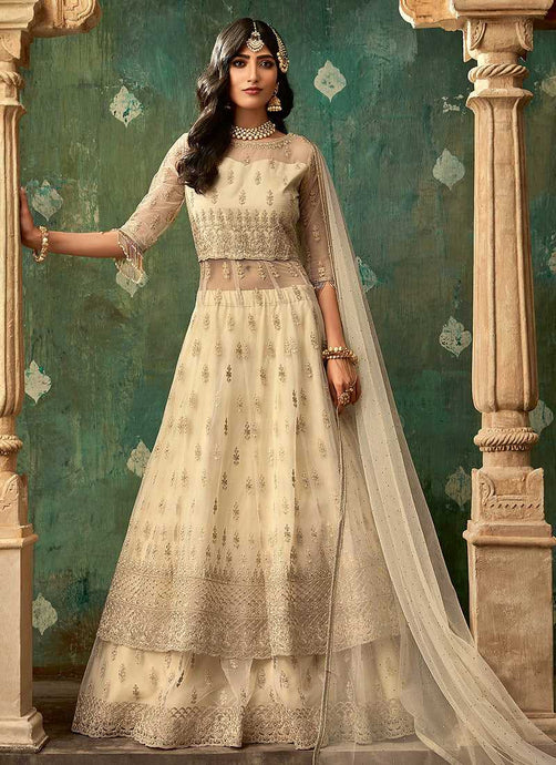 Beige and Gold Embroidered Lehenga - Wedding Lehenga