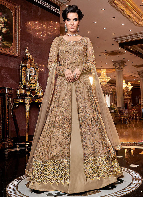 Beige & Gold Heavy Embroidered Lehenga - Indian Dress