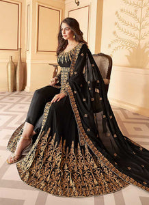 Black Heavy Embroidered High Slit Style Anarkali