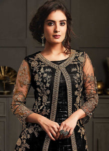 Black Heavy Embroidered Jacket Style Anarkali Suit