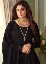 Load image into Gallery viewer, Black Heavy Embroidered Kalidar Anarkali Suit