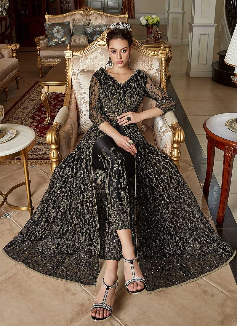 Black Heavy Embroidered Lehenga Pant Style Anarkali - Indian Dress