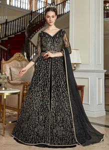 Black Heavy Embroidered Lehenga Pant Style Anarkali - Indian Dress 2