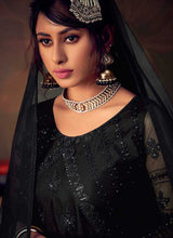 Load image into Gallery viewer, Black Heavy Embroidered Net Sharara Style Suit