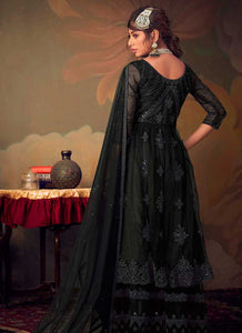 Black Heavy Embroidered Net Sharara Style Suit