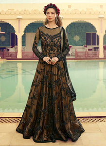 Black and Beige Embroidered Gown Style Anarkali Suit