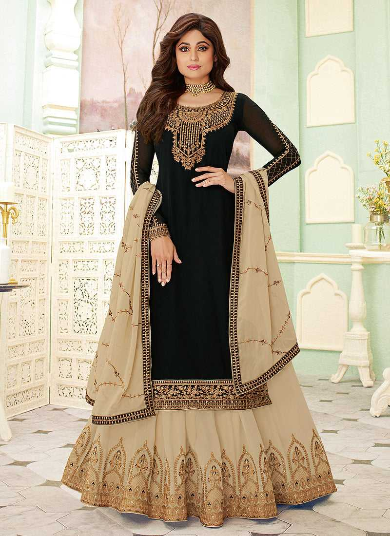 Black and Gold Embroidered Lehenga Style Anarkali Suit