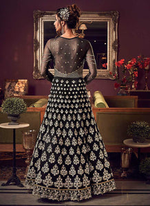 Black & Gold Heavy Embroidered Gown Style Anarkali Suit - Wedding Indian Dress 3