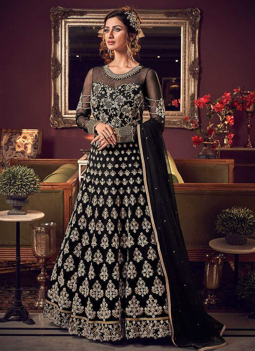 Black & Gold Heavy Embroidered Gown Style Anarkali Suit - Wedding Indian Dress