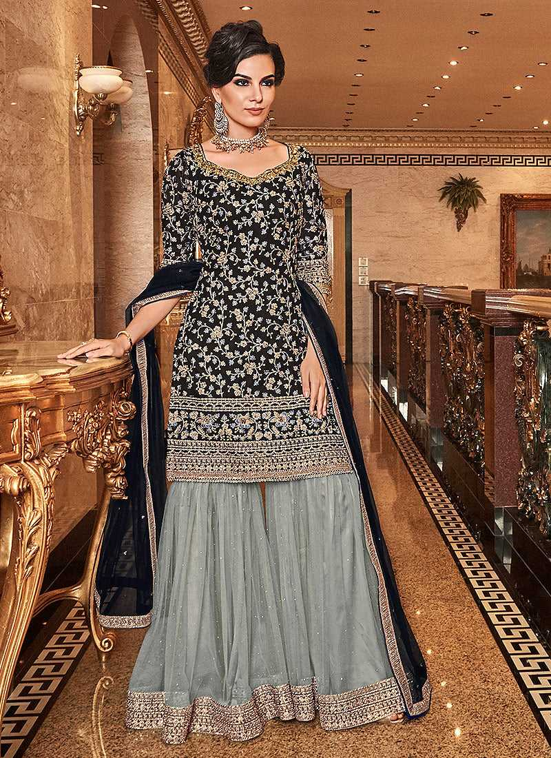 Black & Grey Embroidered Sharara Style Suit - Wedding Indian Dress