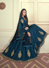 Load image into Gallery viewer, Blue Colored Kalidar Embroidered Silk Voluptuous Gown