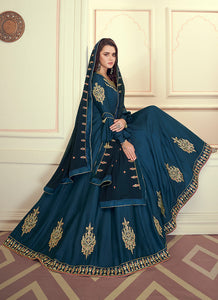 Blue Colored Kalidar Embroidered Silk Voluptuous Gown