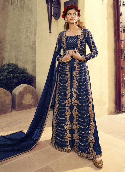 BlueColourHeavyEmbroideredJacketStyleSalwarSuit - Indian Clothing | FashionandStyliah