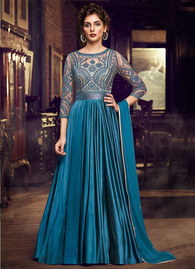 Blue Embroidered Anarkali Style Gown