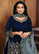 Load image into Gallery viewer, Blue Embroidered Classic Punjabi Suit