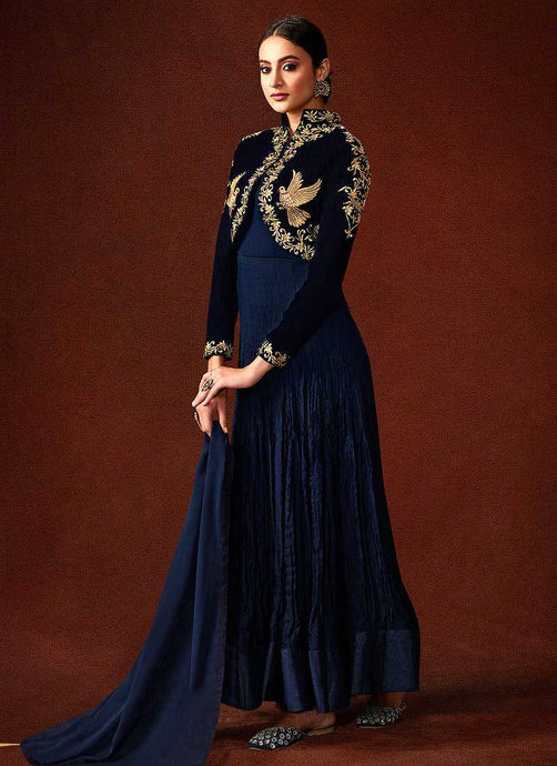Blue Embroidered Floor Touch Jacket Style Gown - Indian clothing | Fashionandstylish