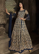 Load image into Gallery viewer, Blue Floral Embroidered Heavy Anarkali Suit