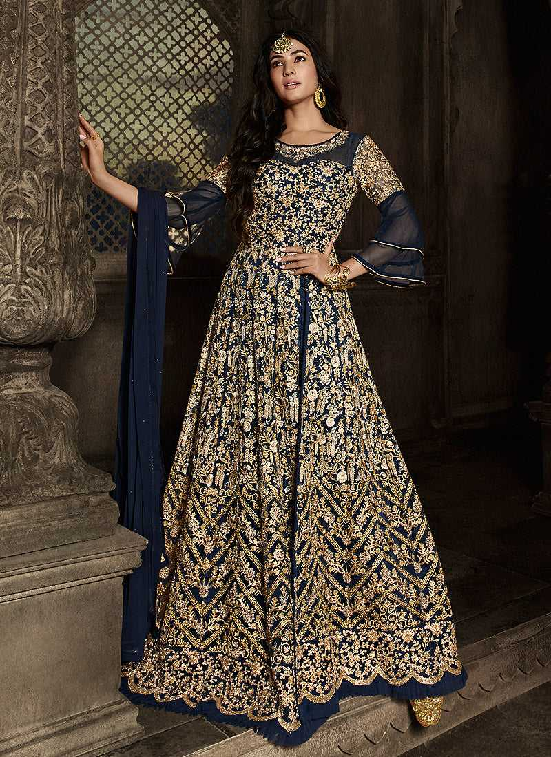Blue Floral Embroidered Heavy Anarkali Suit