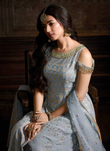 Blue Grey Slit Style Embroidered  Sharara Suit