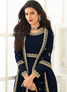 Blue Heavy Embroidered Gown Style Anarkali
