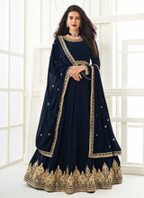 Load image into Gallery viewer, Blue Heavy Embroidered Gown Style Anarkali
