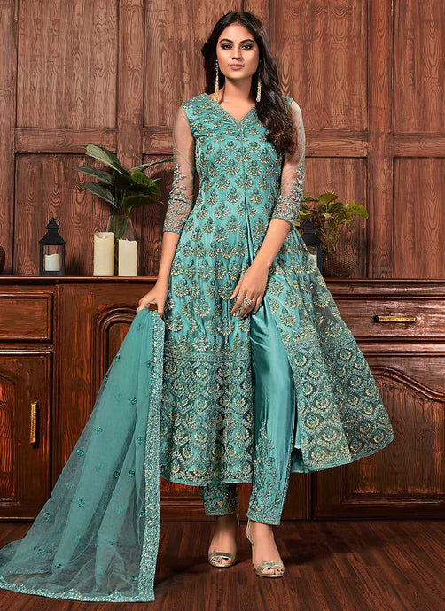 Blue Heavy Embroidered High Slit Style Pant Suit - Indian Clothing | FashionandStylish