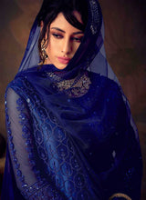 Load image into Gallery viewer, Blue Heavy Embroidered Net Sharara Style Suit