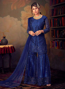 Blue Heavy Embroidered Net Sharara Style Suit