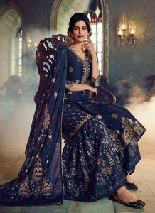 Blue Silk Work Printed Gharara Style Suit