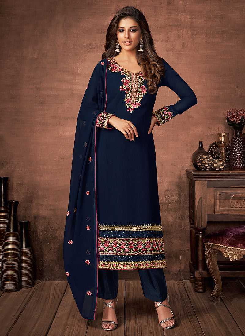Blue and Gold Embroidered Straight Pant Style Suit - Indian Clothing