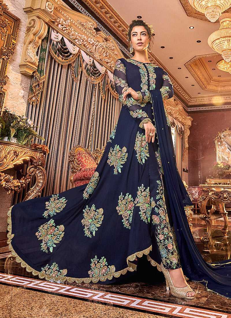 Blue and Gold heavy Embroidered Anarkali