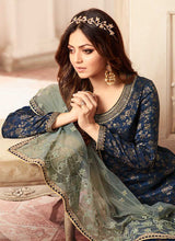 Load image into Gallery viewer, Blue and Green Embroidered Sharara Style Suit-Indian dress | FashionandStylish  2