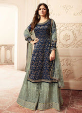 Load image into Gallery viewer, Blue and Green Embroidered Sharara Style Suit-Indian dress | FashionandStylish