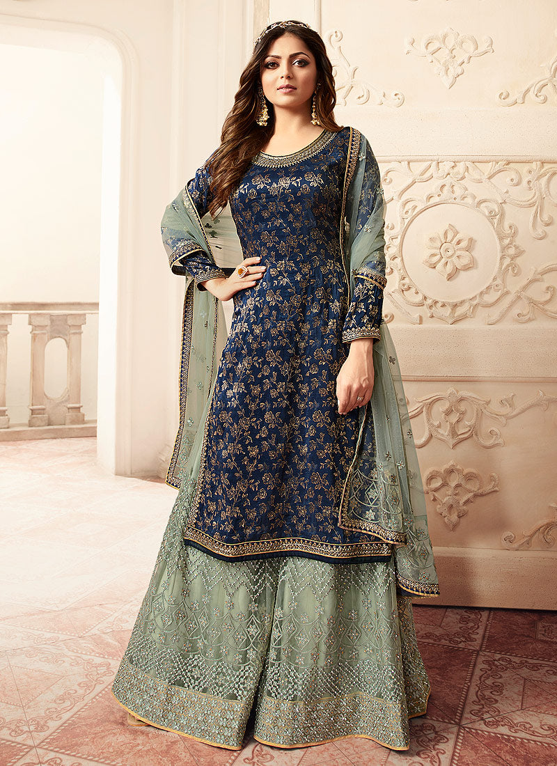 Blue and Green Embroidered Sharara Style Suit-Indian dress | FashionandStylish