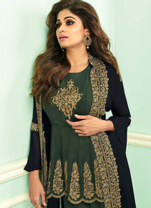 BlueandGreen Heavy Embroidered Jacket Style Plazzo Suit - Designer Indian Dress 2