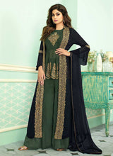 Load image into Gallery viewer, BlueandGreen Heavy Embroidered Jacket Style Plazzo Suit - Designer Indian Dress