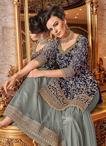 Blue and Grey Embroidered Sharara Style Suit - wedding Indian Dress | FashionandStylish 2