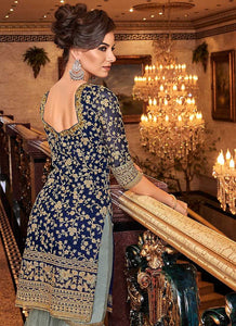 Blue and Grey Embroidered Sharara Style Suit - wedding Indian Dress | FashionandStylish 3