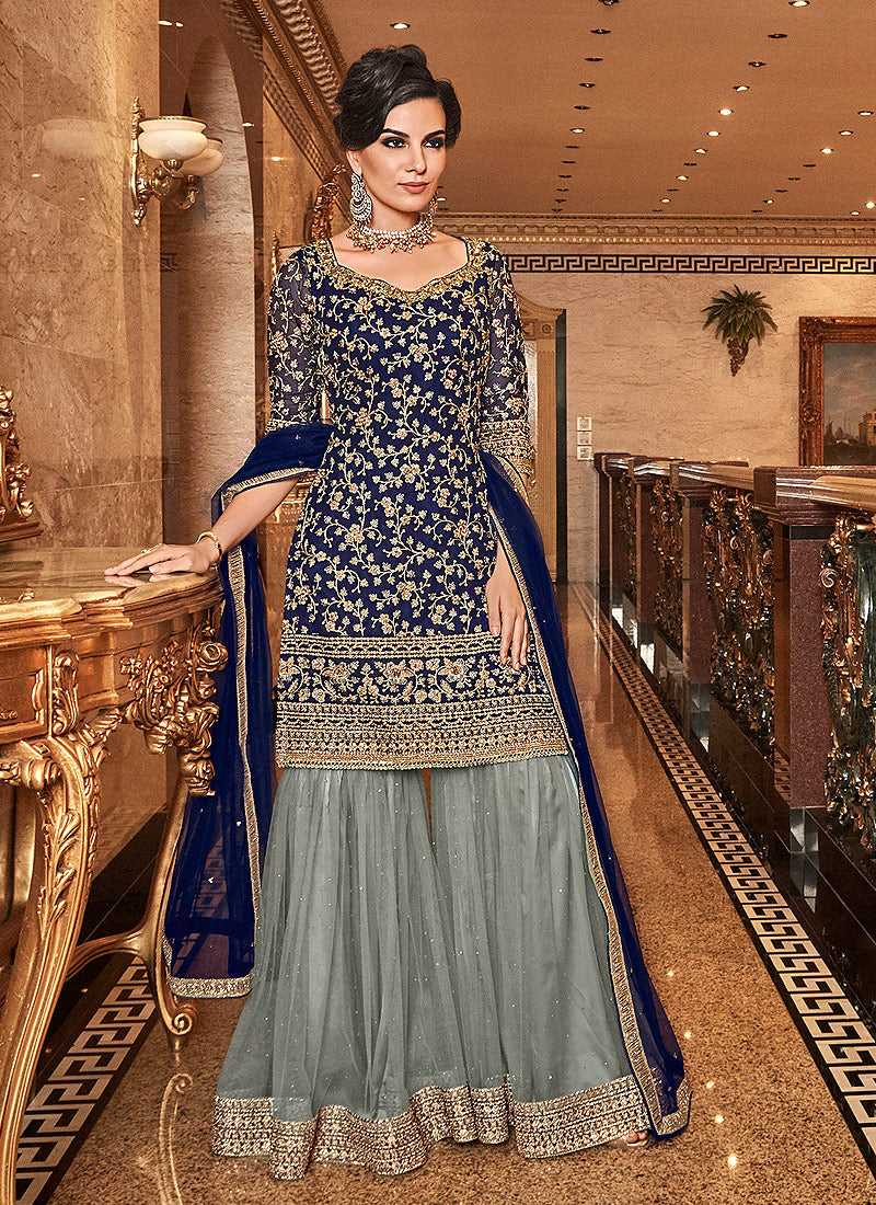 Blue and Grey Embroidered Sharara Style Suit - wedding Indian Dress | FashionandStylish
