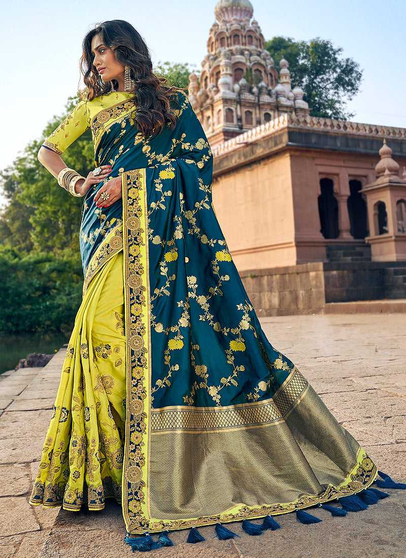 Blue and Light Green Embroidered Bollywood Style Saree
