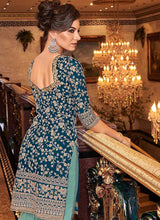 Load image into Gallery viewer, Blue and Sea Green Embroidered Sharara Style Suit