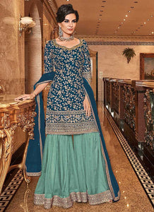 Blue and Sea Green Embroidered Sharara Style Suit