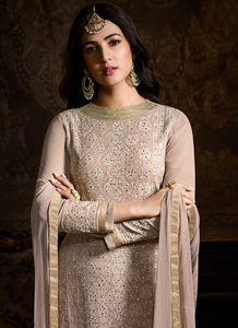 Blush Nude Embroidered Lehenga Style Sharara Suit - Indian Clothing | FashionandStylish 2