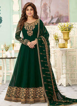 Load image into Gallery viewer, Bottle Green Heavy Embroidered Floor touch Anarkali